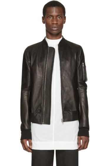 Rick Owens - Black Leather Bomber Jacket