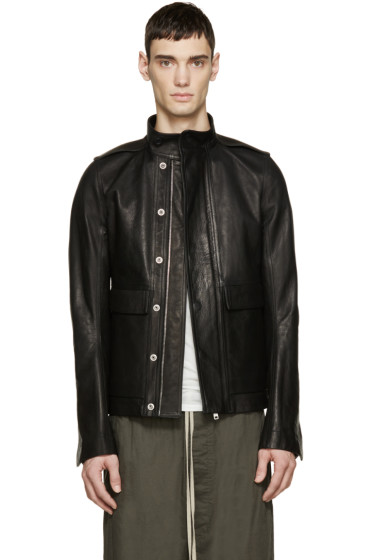 Rick Owens - Black Leather Army Jacket