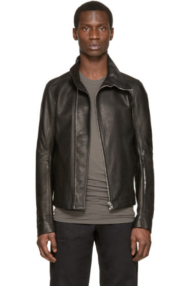 Rick Owens - Black Leather Mollino Jacket