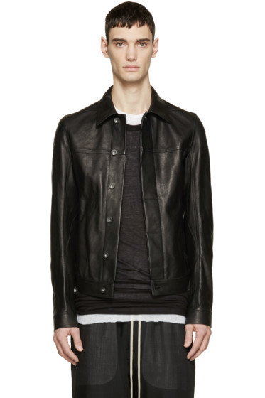 Rick Owens - Black Grained Leather Worker Jacket