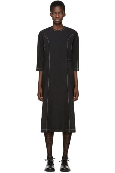 Comme des Garçons - Black Twill Topstitched Dress