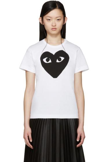 Comme des Garçons Play - White & Black Heart T-Shirt