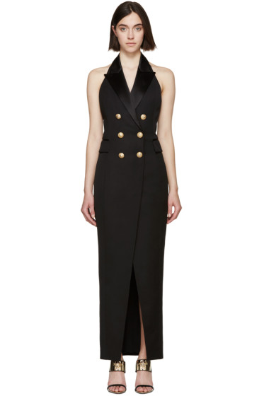 Balmain - Black Tuxedo Long Dress