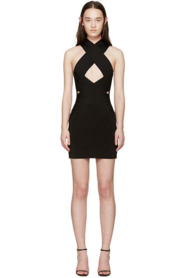 Balmain - Black Rib Knit Criss-Cross Dress