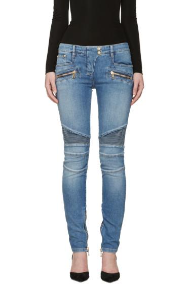 Balmain - Blue Skinny Vintage Biker Jeans