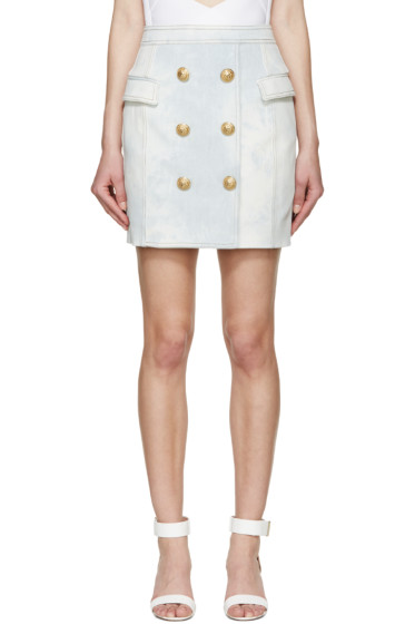 Balmain - Blue Denim Button Skirt