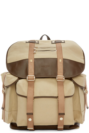 Balmain - Beige Canvas & Leather Backpack