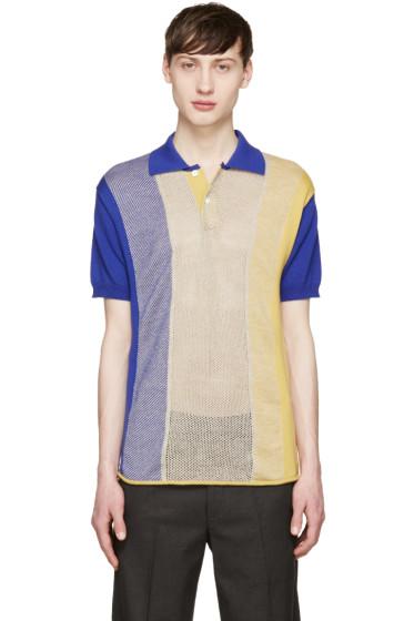 Junya Watanabe - Blue & Yellow Intarsia Polo