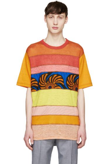 Junya Watanabe - Red & Orange Mesh Panel T-Shirt