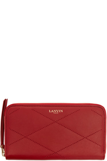 Lanvin - Red Quilted Leather Sugar Wallet