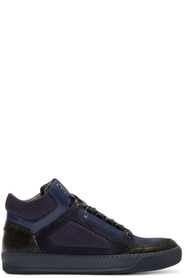 Lanvin - Navy Leather & Mesh Mid-Top Sneakers