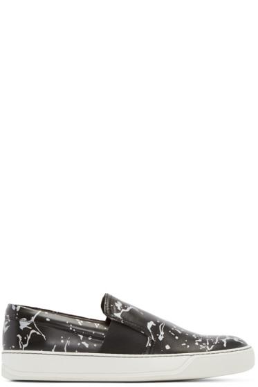 Lanvin - Black Leather Impression Slip-On Sneakers