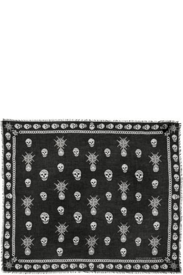 Alexander McQueen - Black & White Medallion Skull Scarf