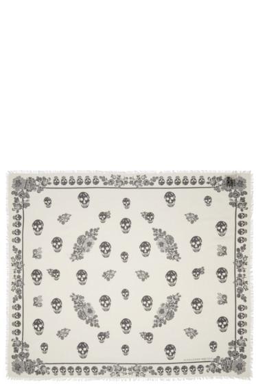 Alexander McQueen - Ivory Floral Skull Scarf