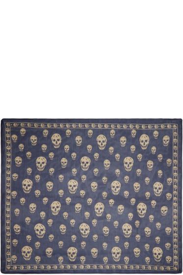 Alexander McQueen - Navy Chiffon Skull Scarf
