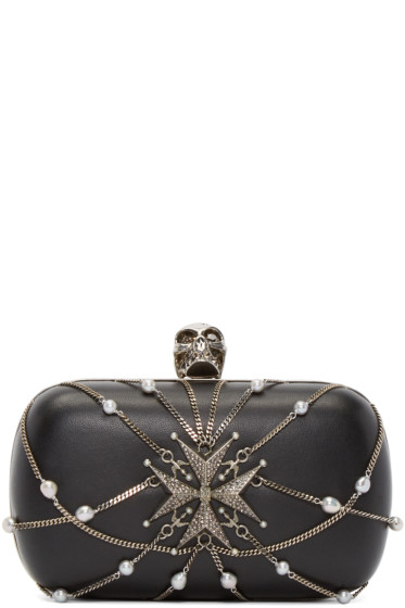 Alexander McQueen - Black Chain Skull Box Clutch