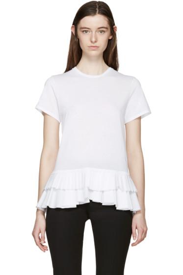 Alexander McQueen - White Ruffles and Pleats T-Shirt