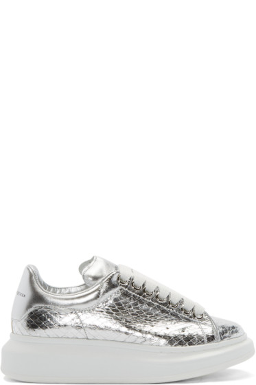 Alexander McQueen - Silver Snakeskin Sneakers