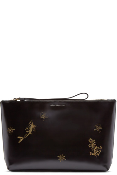 Alexander McQueen - Black Patent Leather Tattoo Pouch