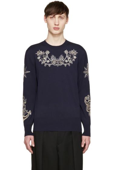 Alexander McQueen - Navy Knit Tattoo Sweater
