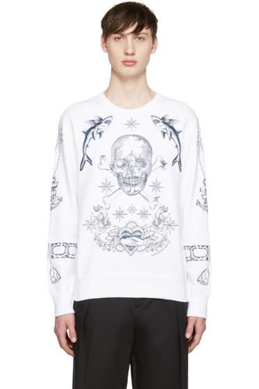 Alexander McQueen - White Skull & Tattoo Sweatshirt