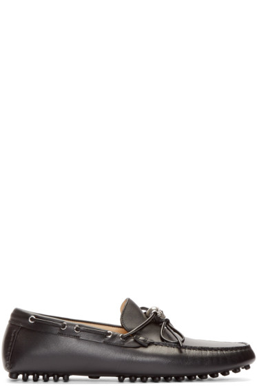 Alexander McQueen - Black Leather Skull Driver Loafers