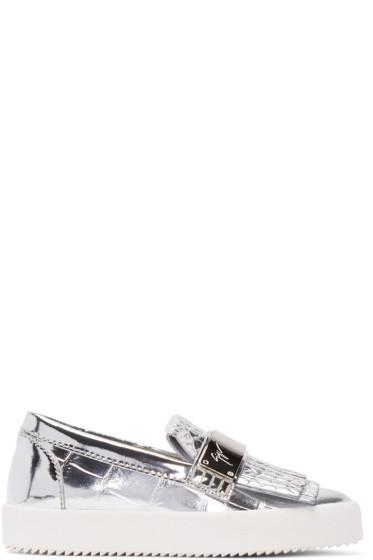 Giuseppe Zanotti - Silver Croc-Embossed London Slip-On Sneakers