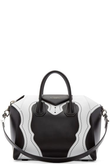 Givenchy - Black & White Brogue Animation Medium Antigona Bag