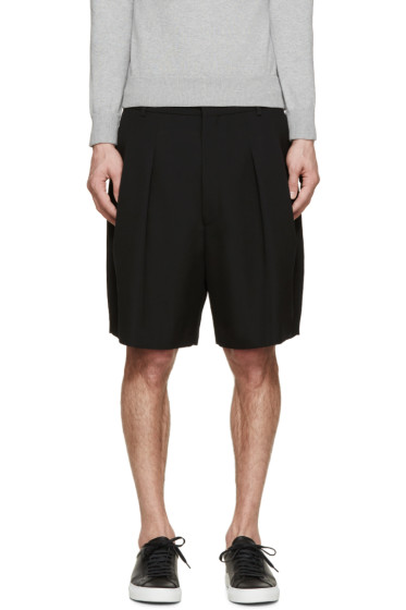 Givenchy - Black Wool Pleated Shorts