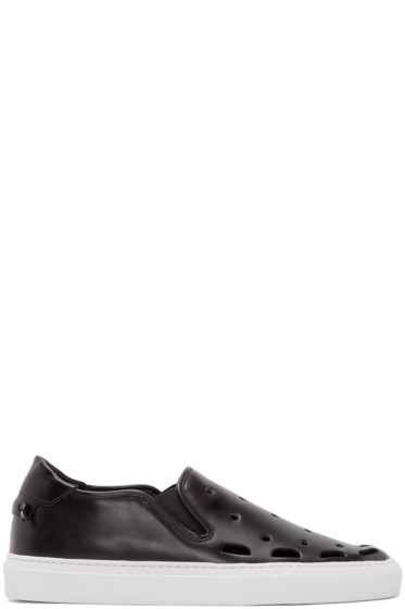 Givenchy - Black Perforated Street Skate Slip-On Sneakers