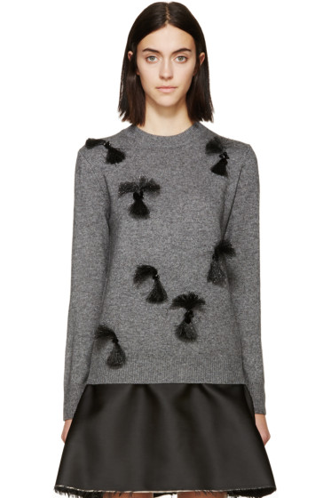 3.1 Phillip Lim - Grey Fringed & Beaded Sweater