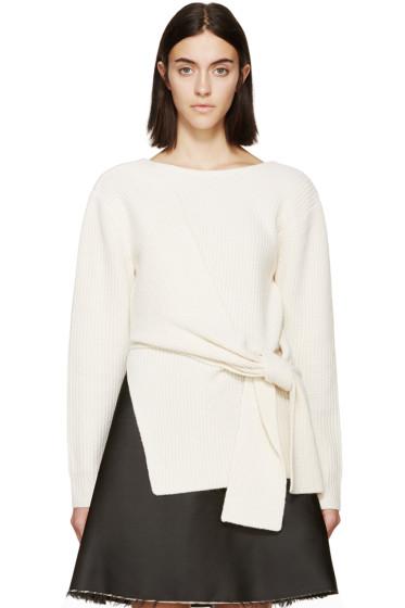 3.1 Phillip Lim - Ivory  Draped Tie Sweater