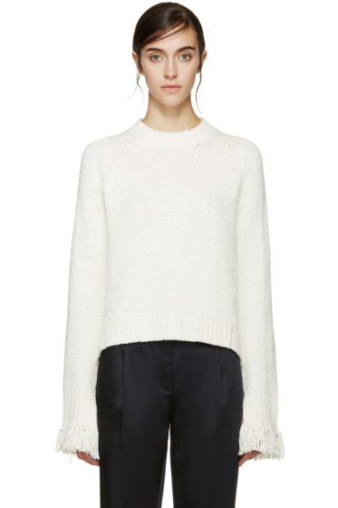 3.1 Phillip Lim - Ivory Fringed Cuff Sweater