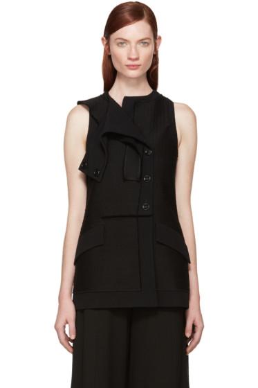 Proenza Schouler - Black Tweed Asymmetric Vest