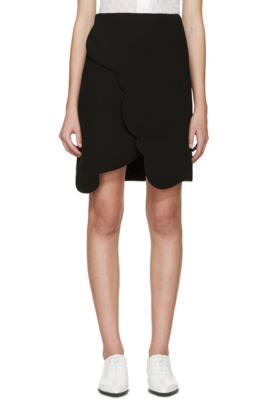 Carven - Black Scalloped Wrap Miniskirt