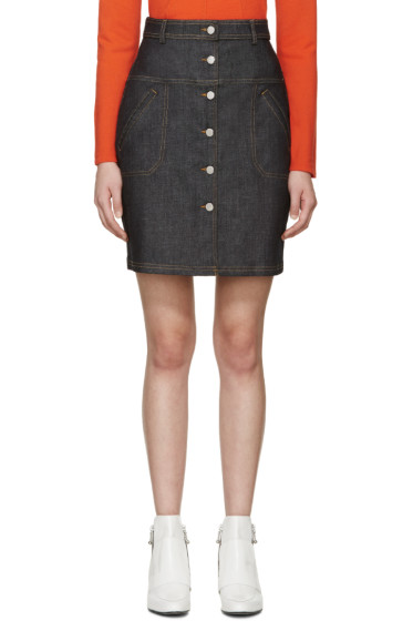 Carven - Blue Button-Front Denim Skirt