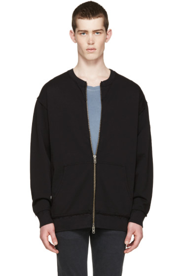 BLK DNM - Black French Terry Zip-Up Sweater