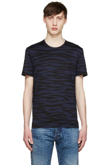 Burberry Prorsum - Navy & Black Zebra T-Shirt