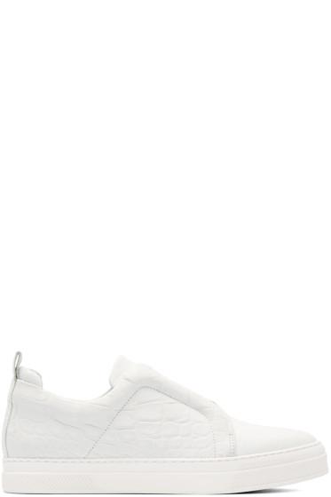 Pierre Hardy - White Croc-Embossed Slip-On Sneakers