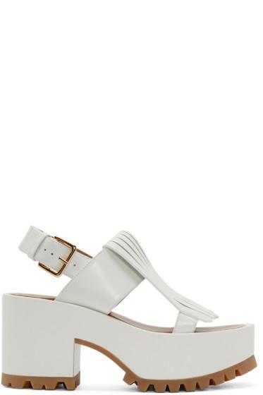 Marni - White Leather Fringed Sandals