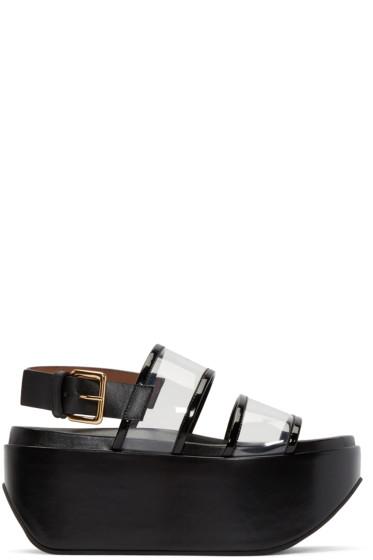 Marni - Black Leather & Vinyl Wedge Sandals