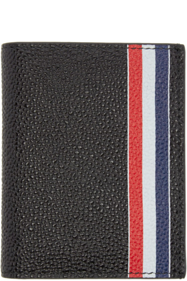 Thom Browne - Black Leather Double Card Holder