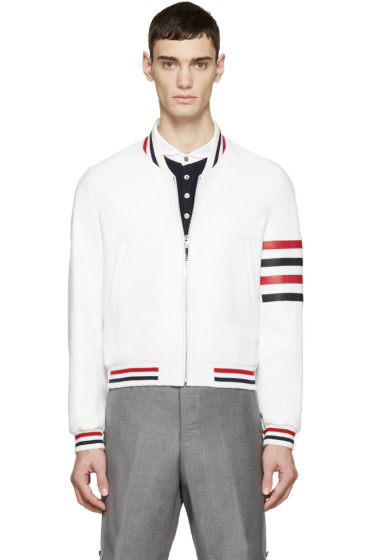 Thom Browne - White Leather Varsity Bomber Jacket