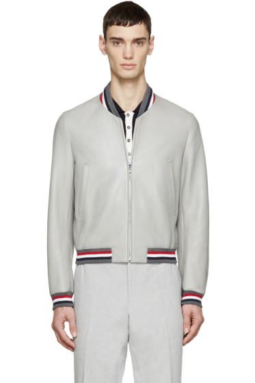 Thom Browne - Grey Leather Varsity Bomber Jacket