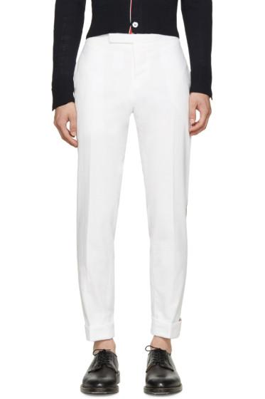 Thom Browne - White Side Stripe Trousers
