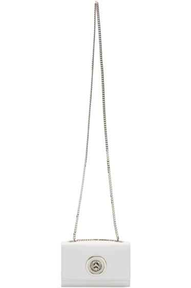 Versus - White Small Leather Lion Medallion Bag