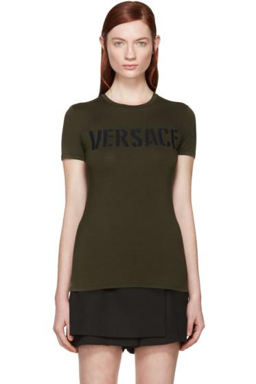 Versace - Green Military Logo T-Shirt