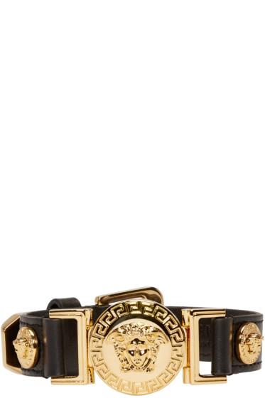 Versace - Black & Gold Leather Medusa Bracelet