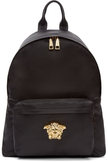Versace - Black & Gold Nylon Medusa Backpack