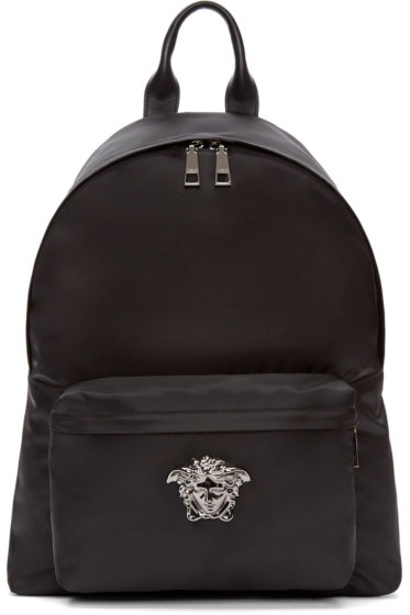Versace - Black & Gunmetal Nylon Medusa Backpack